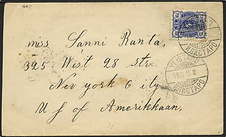 25 pen. Våben single på brev annulleret med 2-sproget stempel Ylistaro d. 19.12.1895 til New York, USA.