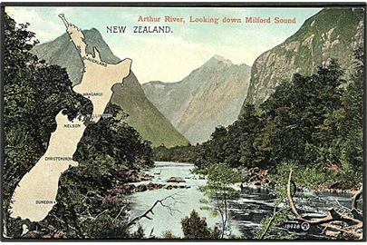 Parti fra Arthur River paa New Zealand. Valentine no. 18428.