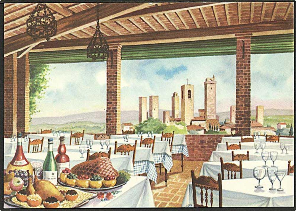 Restaurant Le Terrazza i Siena Italien U no Italien Postkort