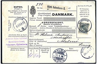 2 kr. Chr. X single på internationalt adressekort for pakke fra Kjøbenhavn 8 d. 16.9.1925 til Malmö, Sverige.