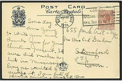 1½d George V single på brevkort fra Nassau d. 22.3.1934 til Stanford, USA.