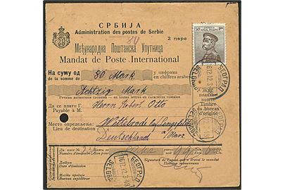 50 para single på international postanvisning fra Beograd d. 16.12.1913 til Langefeld, Tyskland.