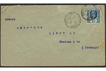 15 c George V single på brev fra Port Louis d. 19.7.1929 til Bautsen, Tyskland.