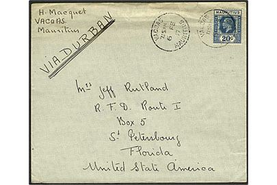 20 c George V single på brev fra Vasoas d. 6.2.1937 til St. Petersburg, USA. Påskrevet: via Durban.