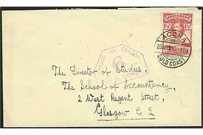 1½d George VI på brev fra Accra d. 25.10.1940 til Galsgow, Scotland. Violet censurstempel: Passed by Censor 5 Gold Coast.