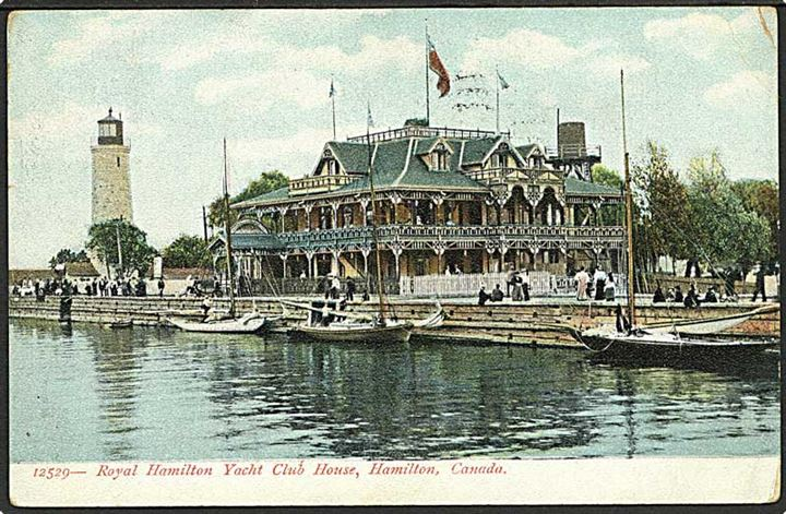 Klubhuset til Royal Hamilton Yacht Club, Canada. Souvenir Post Card no. 12529.