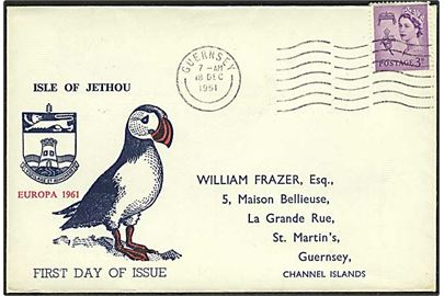 6d Isle of Jethou Europa 1961 utakket blok udg. på FDC stemplet Island of Jethou Channel Islands d. 18.12.1961.