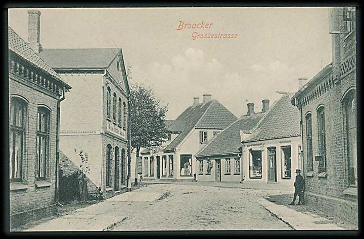 Grossestrasse i Broager. Th. Lau no. 102. Juli 1907.