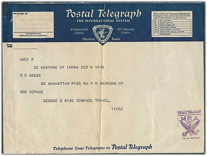 Postal Telegraph telegram til passager ombord på S/S Manhattan i New York d. 4.12.1934.