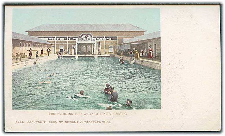 The swimming pool at Palm Beach, Florida. Detroit Photographic co. no. 6224.