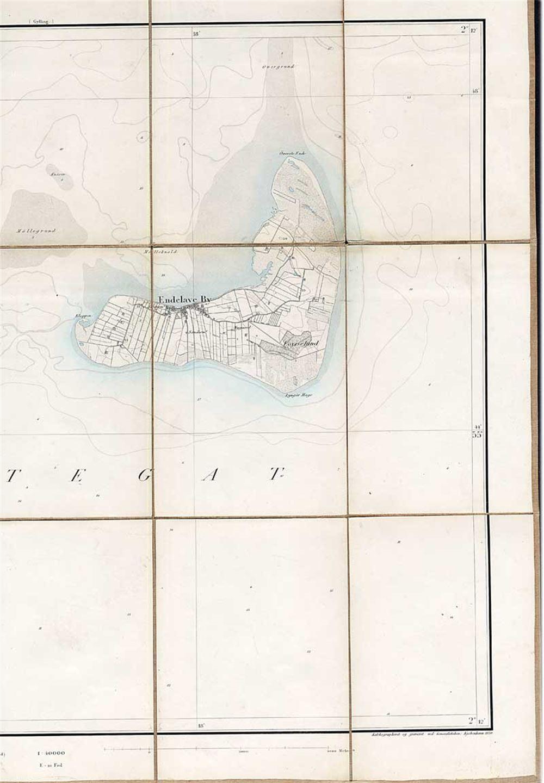 Generalstabens Topografiske Kort Over Endelave No 114 54 X 45 Cm