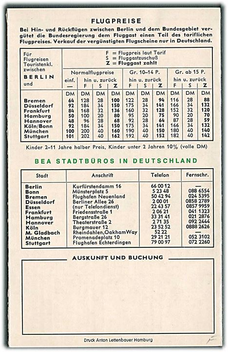 British European Airways (BEA) fartplan for forbindelser til Berlin 1966.