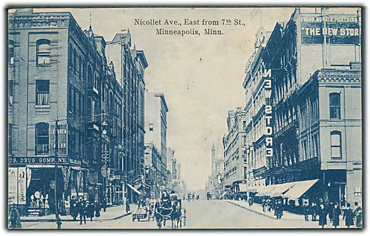 Nicollet Ave, East from 7th St, Minneapolis, Minn. A. C. Bosselman & Co, no. 5067.