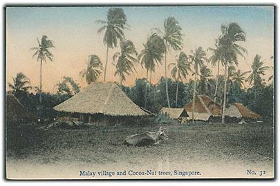 Malay village and Cocoa-Nut trees, Singapore. No. 32.