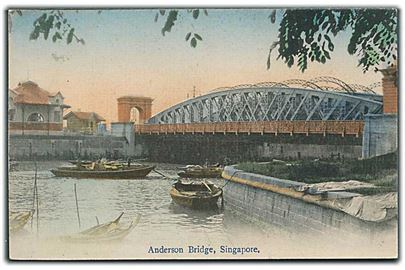 Anderson Bridge med både, Singapore. U/no.
