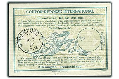 35 Reichpfennig International Svarkupon stemplet Hamburg d. 16.5.1930.