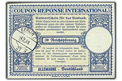 30 Reichpfennig International Svarkupon stemplet Berlin d. 4.2.1939.