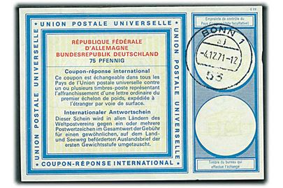 75 pfg. International Svarkupon stemplet Bonn d. 4.12.1971.