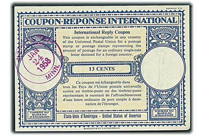 13 cents International Svarkupon stemplet Hopkins Minn. d. 24.1.1958.