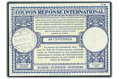 60 c. International Svarkupon stemplet Uetikom am See d. 11.3.1966.