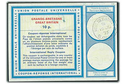 10 p. International Svarkupon stemplet Glasgow d. 16.6.1973.