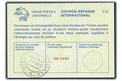 135 cent International Svarkupon stemplet Utrecht d. 2.5.1978.