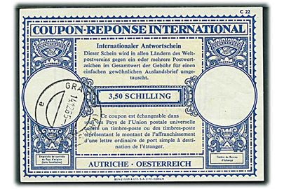 3,50 schilling International Svarkupon stemplet Graz d. 14.12.1965.
