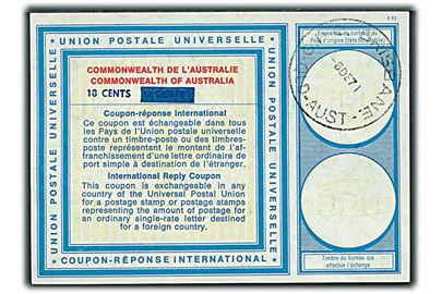 18 cents provisorisk International Svarkupon stemplet Brisbane d. 6.12.1971.