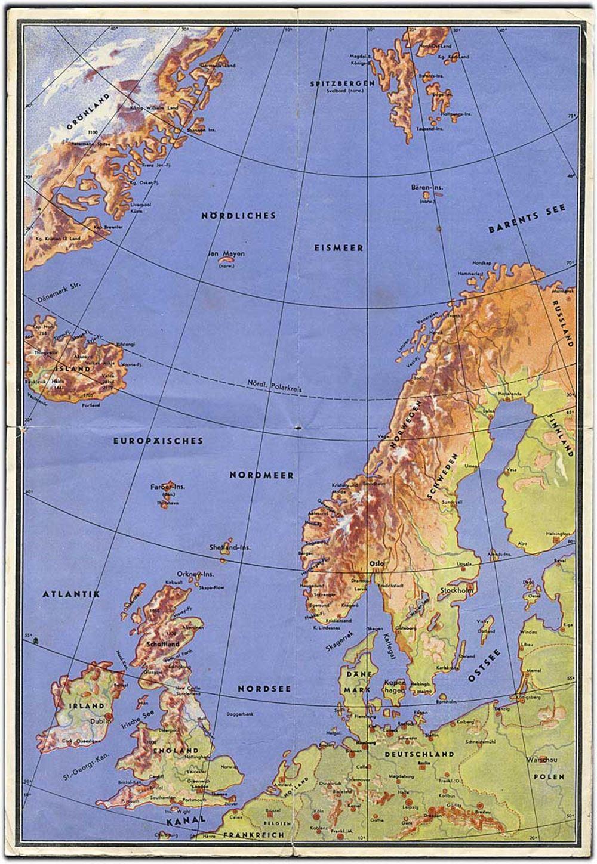 Reliefkort For Skibsrejsende Med Kort Over Norge Danmark Og Elbe