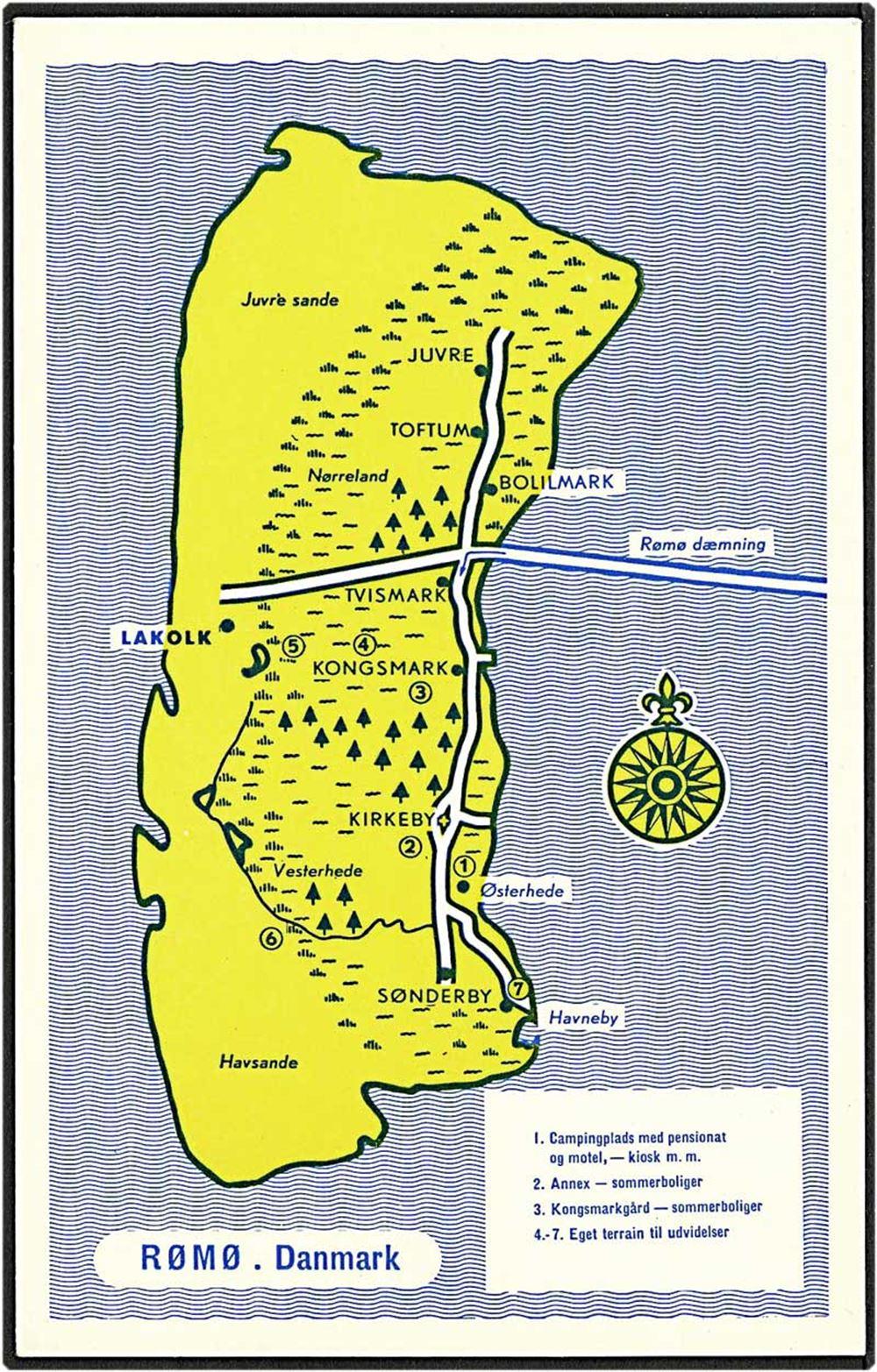 Kort Over Romo E Florander U No 6791 Danmark Postkort Ubrugt