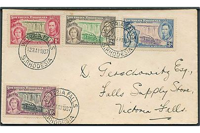 South Rhodesia. Komplet sæt Coronation på FDC stemplet Victoria Falls S. Rhodesia d. 12.5.1937.