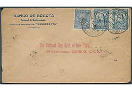 Colombia 4 c. (par) og SCADTA 30 c. Luftpost udg. på brev fra Buearamanga d. 12.6.1929 via Barranquilla til London, England. På bagsiden reklamestempel: Fly your mail in Colombia! Ask your Post Office about it!.