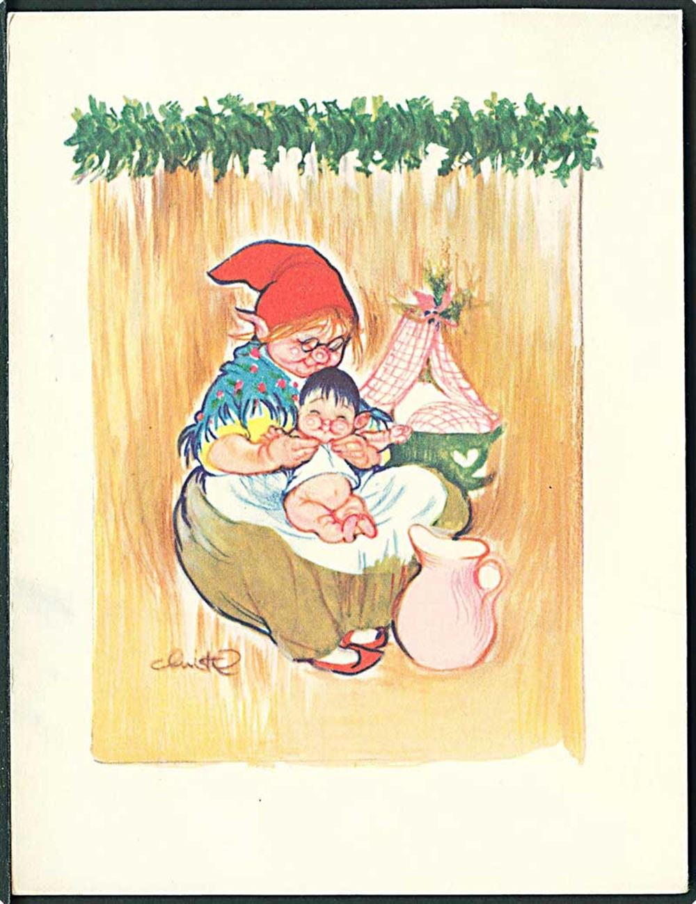 Christel Nissemor Med Baby L Levison Nr 5410 Dobbelt Kort 1957