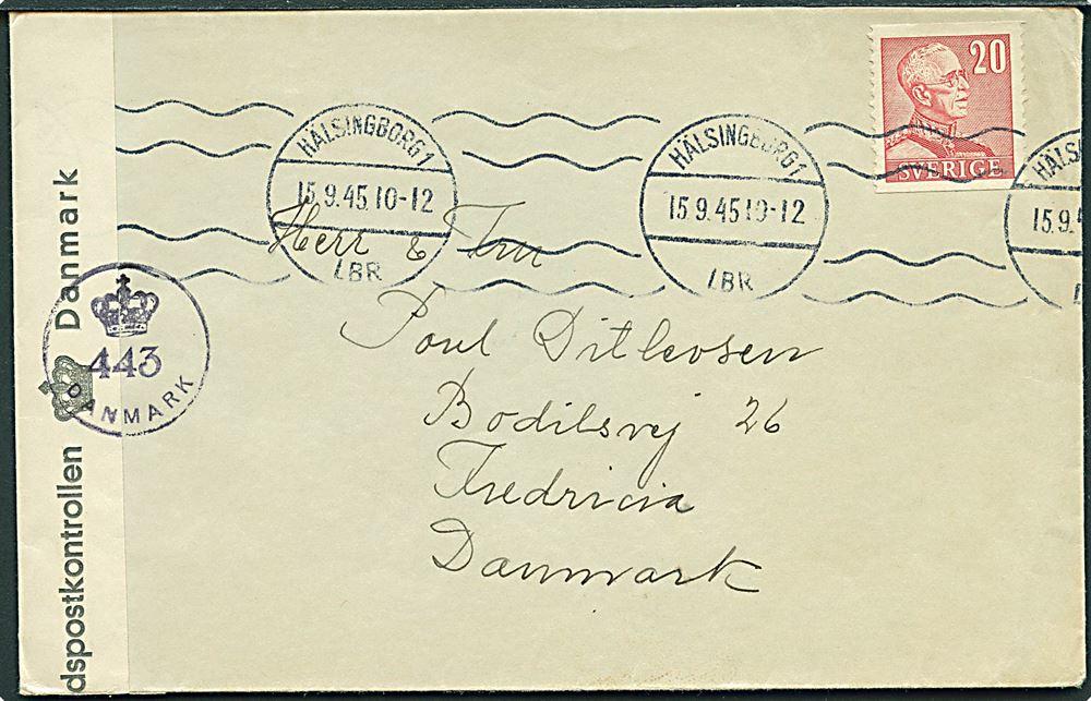 fd03af2be7b 20 øre Gustaf på brev fra Hälsingborg d. 15.9.1945 til Fredericia, Danmark