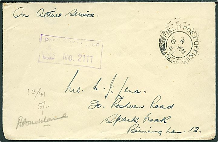 Ufrankeret OAS feltpostbrev stemplet Field Post Office 2 (= Reykjavik) d. 8.8.1941 til England. Unit censor no. 2111.