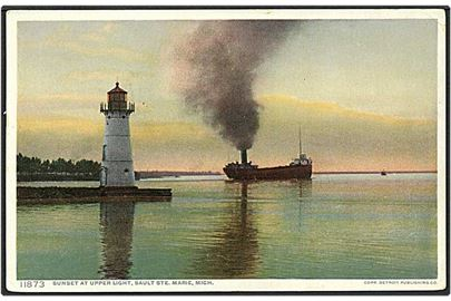 Sunset at Upper Light, Sault Ste. Marie, Michigan. Phostint no. 11873.