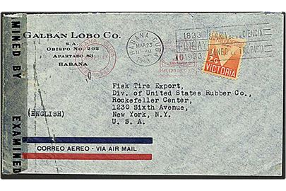 ½ cent orange på luftpost brev fra Havana, Cuba, d. 23.3.1943 til New York, USA. Amerikansk censur.