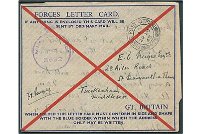 Ufrankeret fortrykt Forces Letter Card stemplet Field Post Office 475 (= Gibraltar) d. 29.11.1943 til England. Violet unit censor 3652.