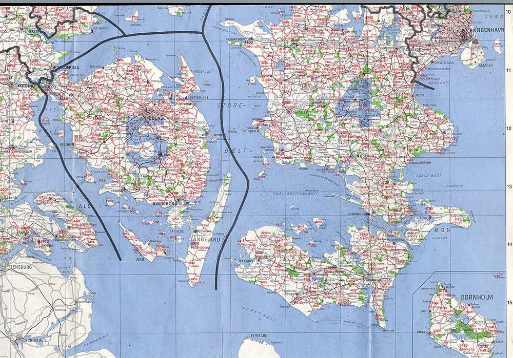 Danmarks Kort Med Samtlige Post Og Telegrafkontorer Samt