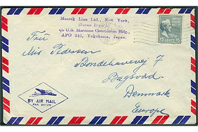 Amerikansk 15 cents Buchannan på luftpostbrev annulleret med feltpoststempel U.S.Army Postal Service 7BPO d. 26.10.1949 til Bagsværd, Danmark. Sendt fra sømand ombord på M/S Anna Mærsk med stempel: Maersk Line Ltd., New York (Japan Branch) c/o U.S. Maritime Commission Bldg. APO 343, Yokohama, Japan.