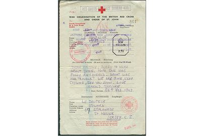 British Red Cross formular brev dateret d. 26.2.1943 til Jersey, Channel Islands. På bagsiden svar dateret Jersey d. 4.6.1943. Flere røde kors og censurstempler.