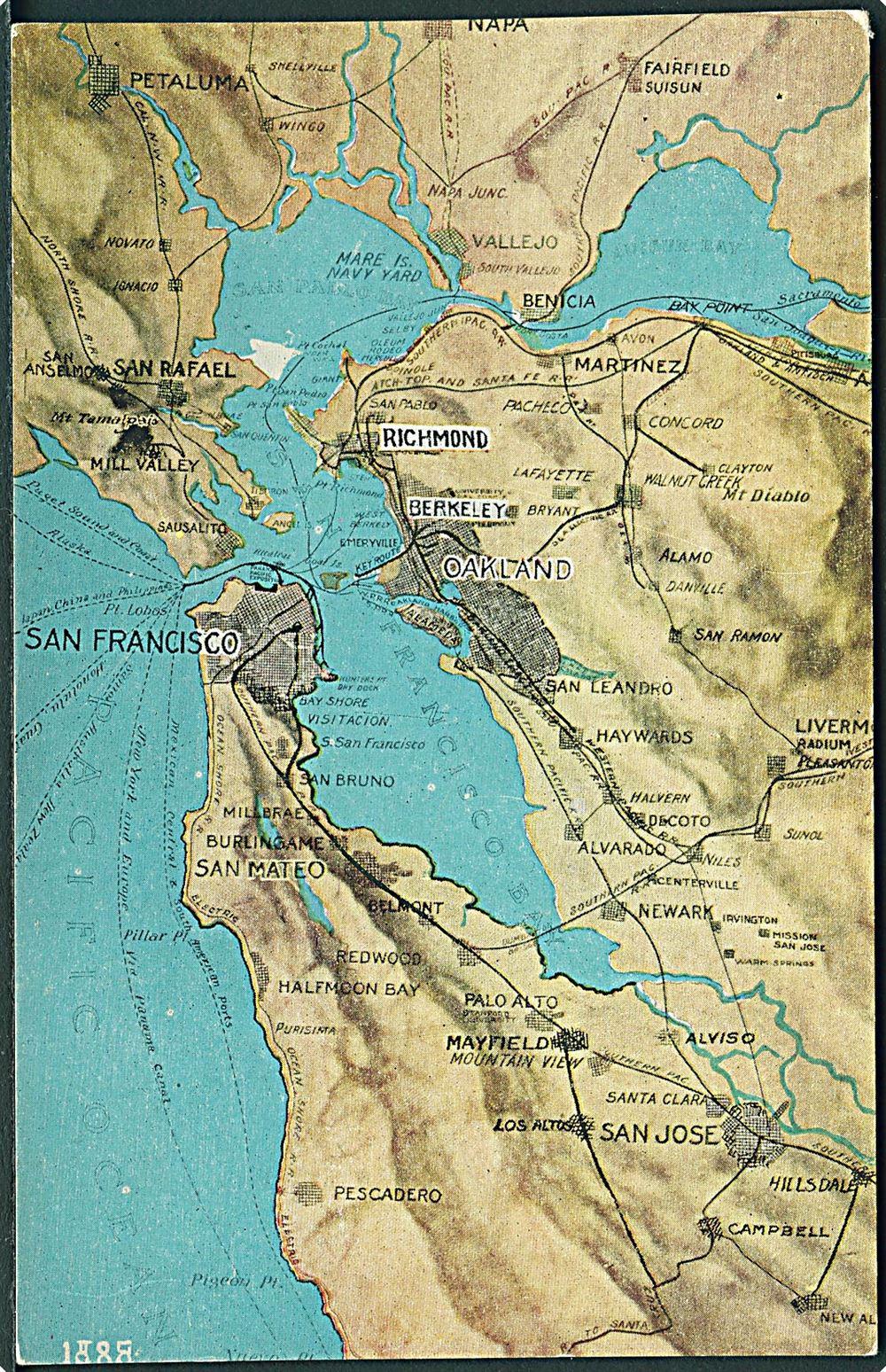 Kort Over San Francisco Bay Pacific Novelty Co U No Usa Postkort