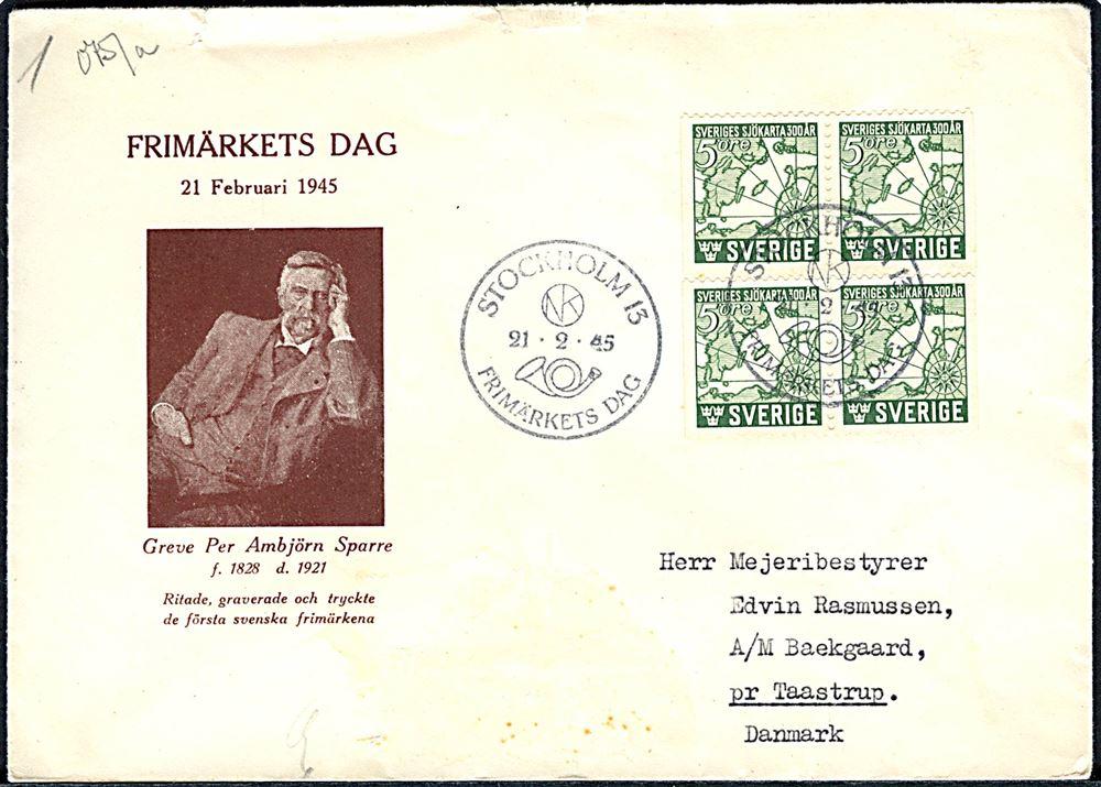 greve danmark karta 5 öre Sjökarta i fireblok på særkuvert fra Stockholm d 21 2 1945 greve danmark karta