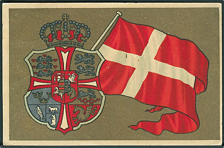 Det danske flag og våbenskjold. Stenders u/no.