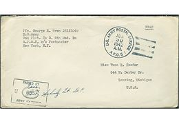 Ufrankeret Free mail feltpostbrev stemplet U.S. Army Postal Service APO 5 (= Baldurshagi, Island) d. 30.6.1942 til USA. Fra menig i 2nd Platoon, Co. D, 5th Medical Batallion APO 5. Sort unit censor no. 655.