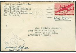 6 cents Transport på luftpostbrev stemplet U. S. Army Postal Service APO 767 (= Grosseto, Italien) d. 8.1.1945 til USA. Fra 66th Fighter Squadron, 57th Fighter Group APO 650 (= Florence, Italien). Unit censor no. 22048.