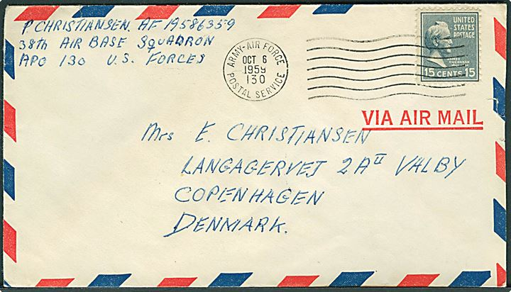 15 cents Buchanan på luftpostbrev stemplet Army-Air Force Postal Service APO 130 (= Sembach Air Base, Kaiserslautern, Tyskland) d. 6.10.1959 til København, Danmark. Fra dansker ved 38th Air Base Squadron.