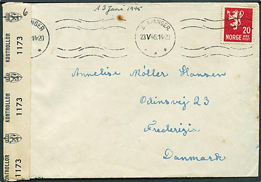 d9a919f9199 20 øre Løve på brev fra Stavanger d 23 5 1945 til Fredericia