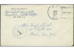 """Free"" mail brev stemplet U.S. NAVY d. 20.3.1943 til USA. Fra Navy 8150 (28th NCB), Fleet Post Office, New York. Violet censurstempel PASSED BY NAVAL CENSOR. Sjældent flådepost fra 28th Naval Construction Batallion stationeret på Island."