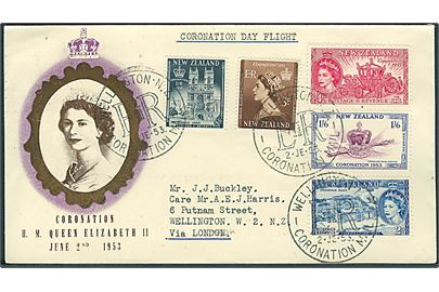 Komplet sæt Elizabeth II på særkuvert stemplet Wellington Coronation Mail d. 2.6.1953 via London til Wellington, New Zealand.